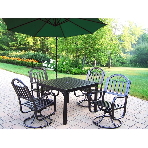 Lisabeth 5 Piece Swivel Dining Set with Umbrella by Red Barrel Studio