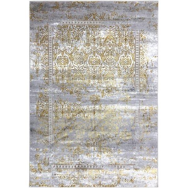 Wintergreen Silky Sultan Gold/Silver Area Rug by Bloomsbury Market