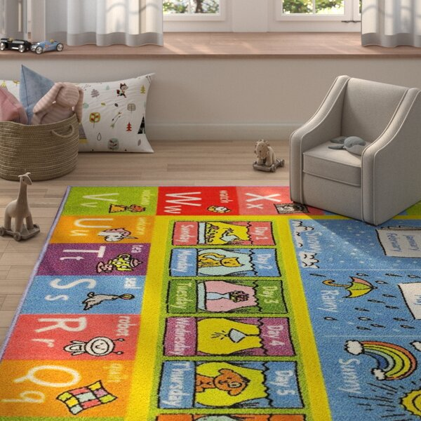 Weranna ABC Seasons Months and Days of the Week Educational Learning Blue/Yellow Indoor/Outdoor Area Rug by Zoomie Kids
