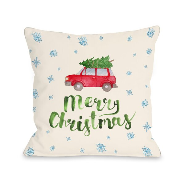 Merry Christmas Car Tree Throw Pillow by One Bella Casa