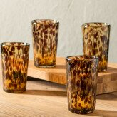 Classic Tortoise Recycled Glass Tall 10 oz. Tumbler (Set of 4) by VivaTerra
