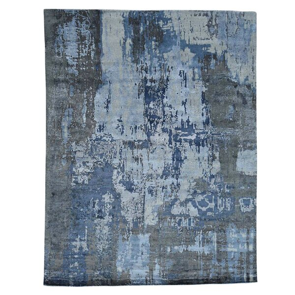 Abstract Hi and Low Hand-Knotted Denim Blue/Gray Area Rug by Williston Forge