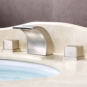 Wide-Spread Waterfall LED-Thermal Sink Faucet