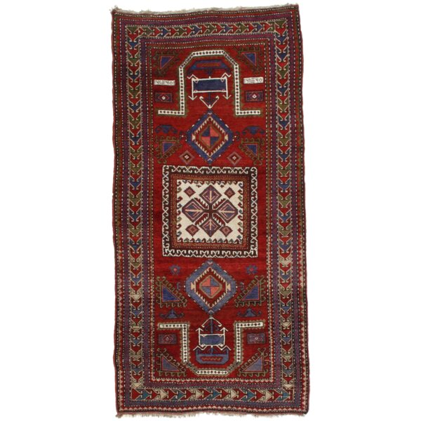 Antique Russian Kazak Hand-Knotted Wool Red/Ivory Area Rug