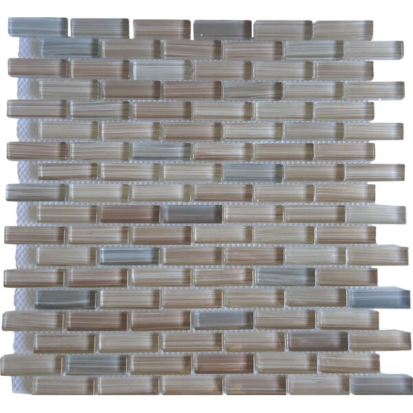 Rosewood 0.63 Slate and Glass Mosaic Tile in White and Brown by Mulia Tile