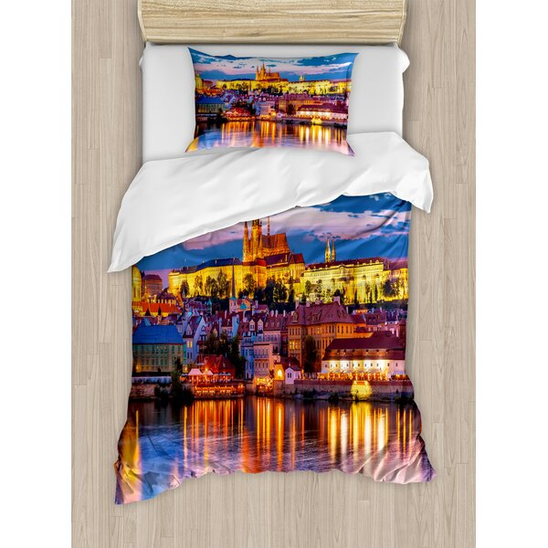 Travel Evening in Prague Czech Republic St.Vitus Cathedral Historical Architecture Duvet Set by East Urban Home