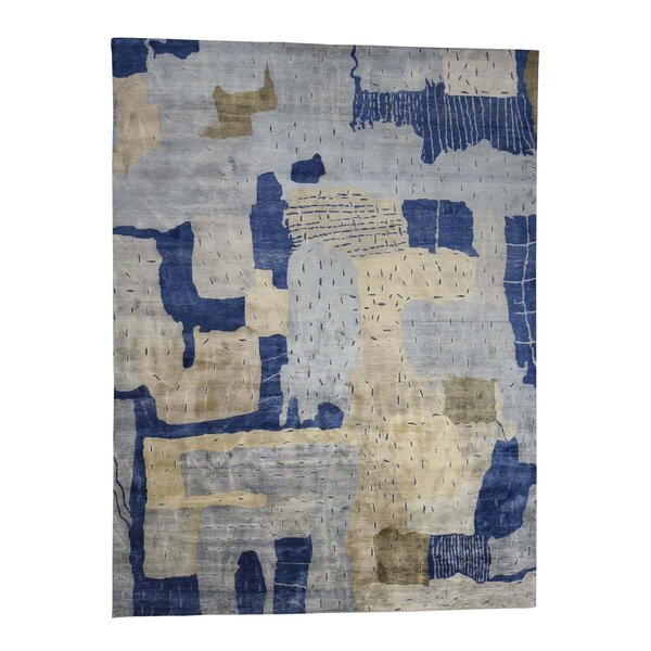 One-of-a-Kind Neilson Oxidized Pile Modern Abstract Oriental Hand-Knotted Silk Blue Area Rug by Williston Forge
