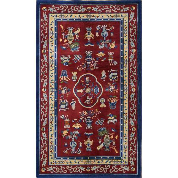 One-of-a-Kind Linnea Peking Oriental Hand-Knotted Wool Red/Burgundy Area Rug by World Menagerie