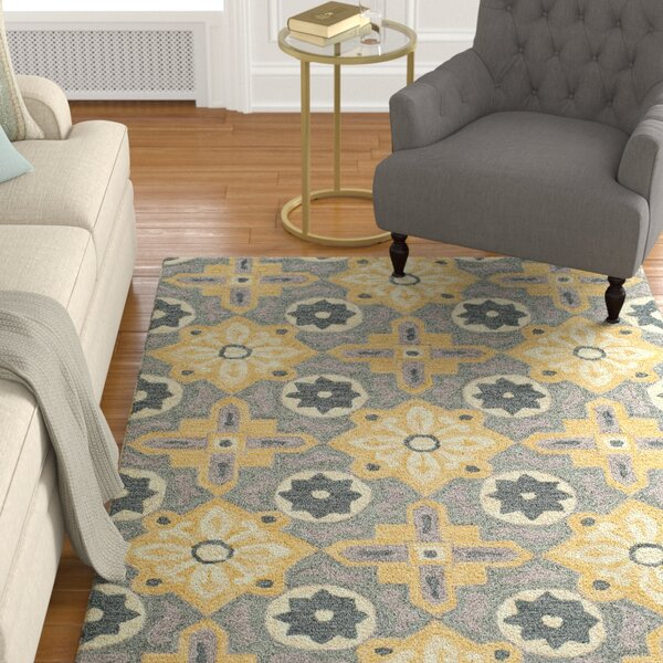 Ophelia Hand-Hooked Yellow Area Rug by Charlton Home