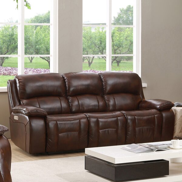 Chic Style Kostka Leather Reclining Sofa by Red Barrel Studio by Red Barrel Studio