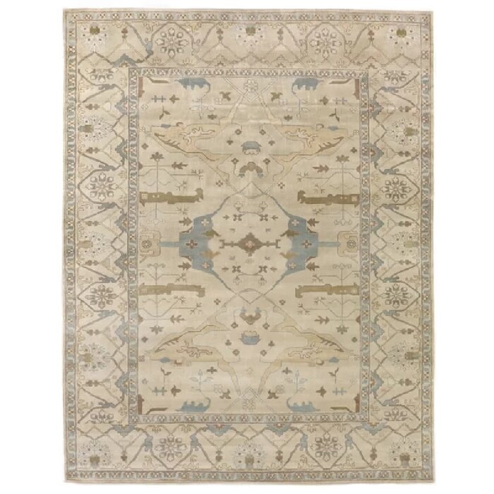 Oushak Hand Knotted Wool Ivory Area Rug