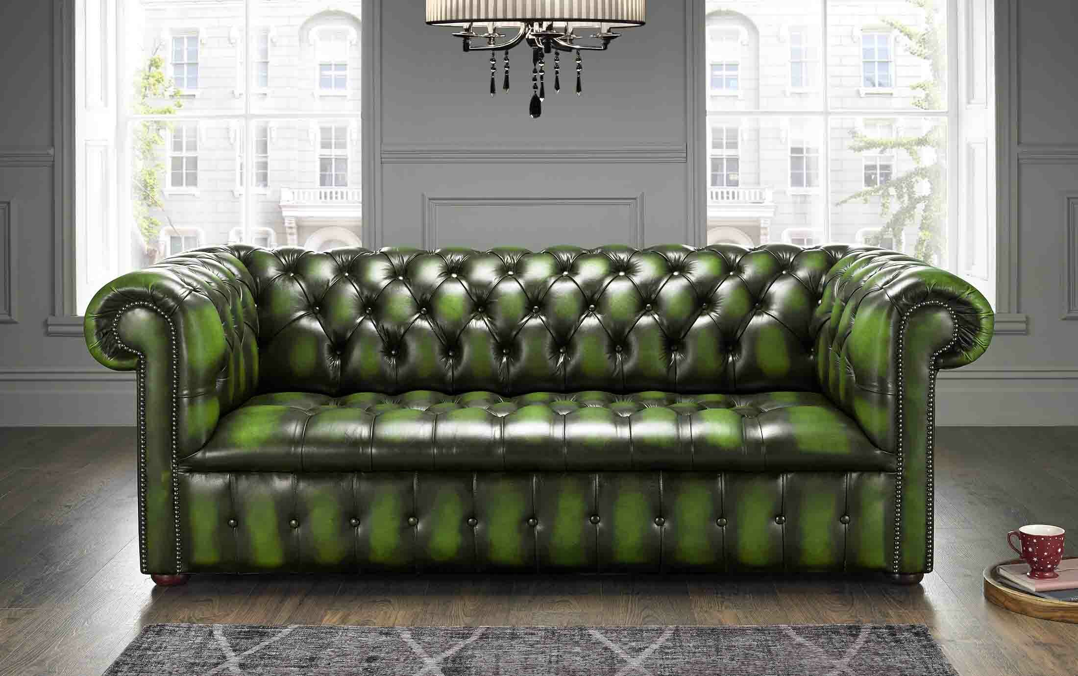 - Astoria Grand Colwell Buttoned Genuine Leather 3 Seater