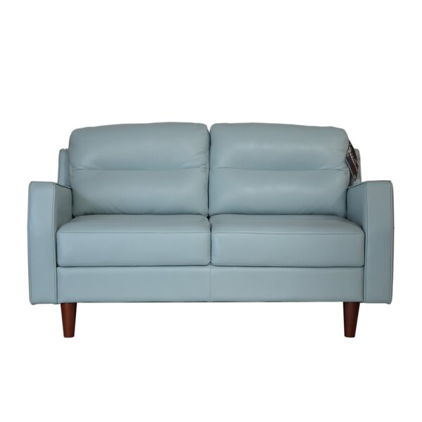 Brand New Chirag Leather Loveseat by Latitude Run by Latitude Run