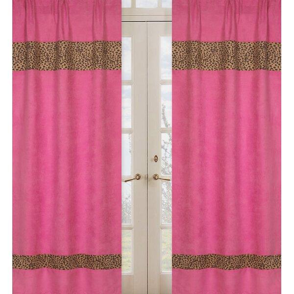 Cheetah Pink Animal print Semi-Sheer Rod pocket Curtain Panels (Set of 2) by Sweet Jojo Designs
