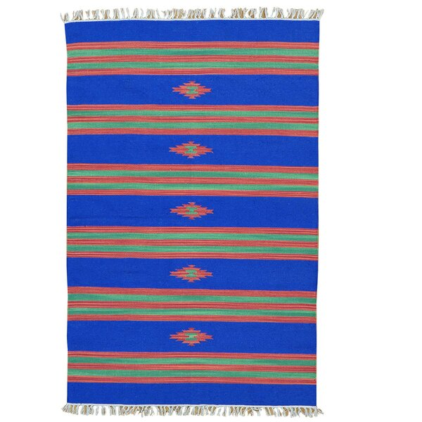 Flat Weave Killim Hand-Knotted Cotton Blue Area Rug by Millwood Pines