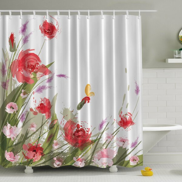 Meadow Flowers Print Shower Curtain by Ambesonne