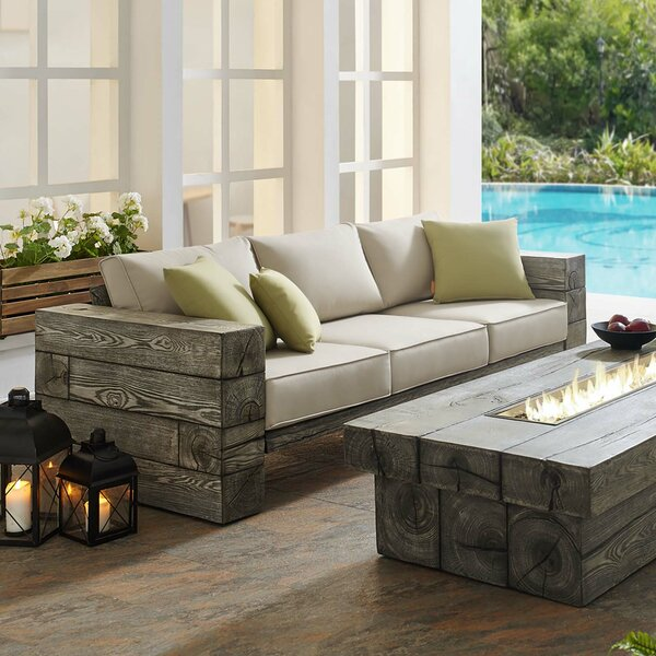 Novalee Outdoor Patio Sofa with Cushions by Millwood Pines Millwood Pines