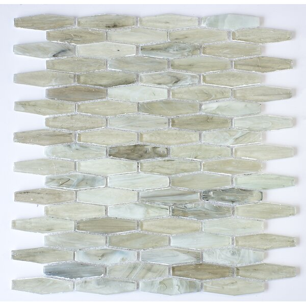 Esagono 0.75 x 2.75 Glass Mosaic Tile in Light Gray by Byzantin Mosaic