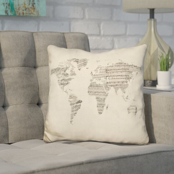 Harner World Sheet Music Map Throw Pillow by Wrought Studio