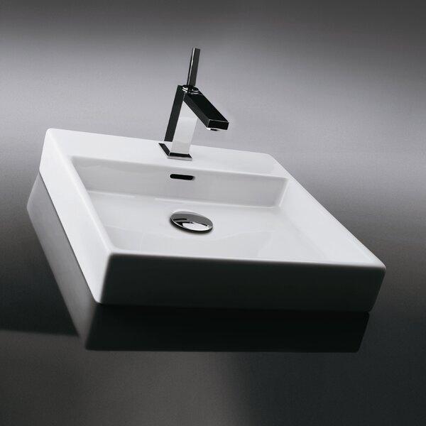 Plain Ceramic 18 Wall Mount Bathroom Sink with Overflow
