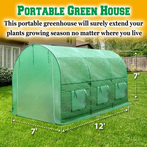 7 Ft. W x 12 Ft. D Hobby Greenhouse by Sunrise Out