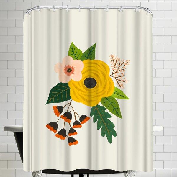 Annie Bailey Folk Art Flowers No III Shower Curtain by East Urban Home