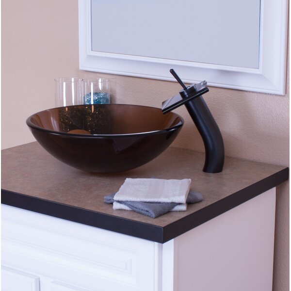 Glass Circular Vessel Bathroom Sink with Faucet by Topia