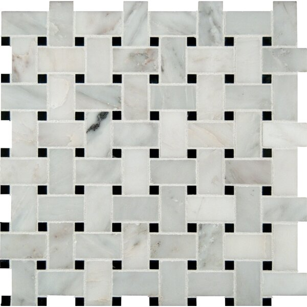 Basket Weave Pattern Random Sized Natural Marble Mosaic Tile in White by MSI