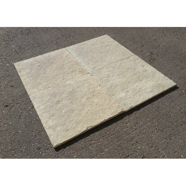 French Vanilla Natural Cleft Face, Gauged Back 16x16 Limestone Field Tile