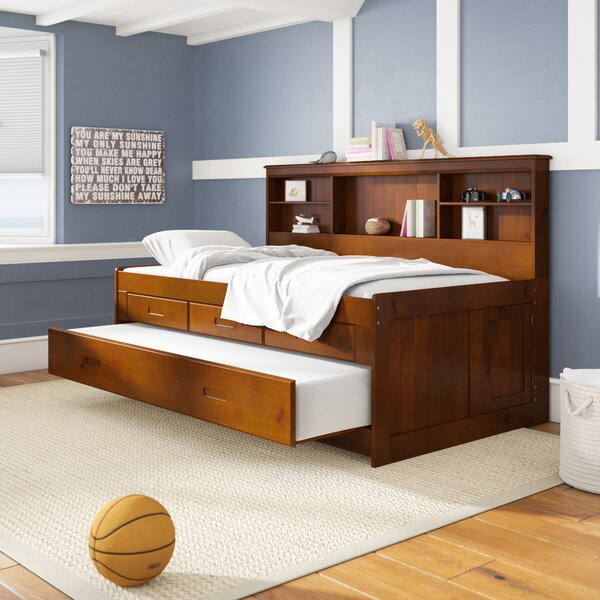 Letizia Mates Bed with Trundle Drawers and Shelves by Birch Lane™ Heritage