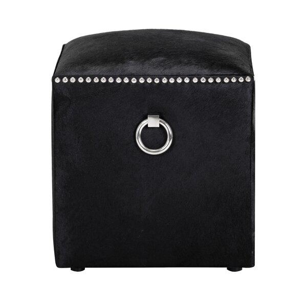 Phoebe Leather Cube Ottoman by Sunpan Modern