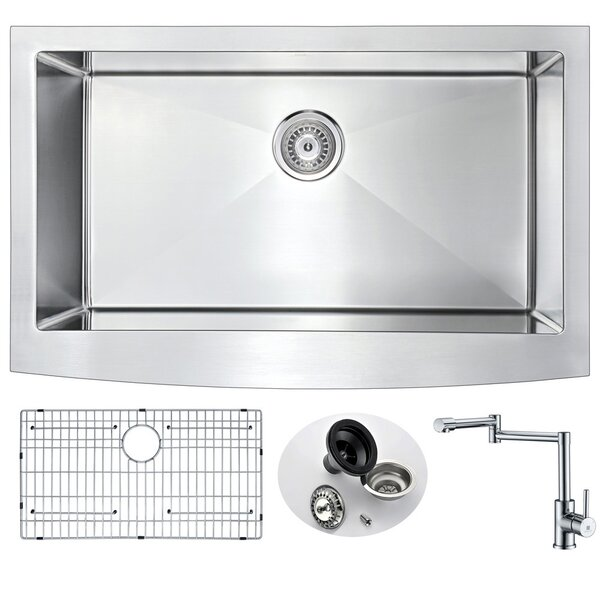 Elysian 36 x 21 Farmhouse/Apron Kitchen Sink and Faucet with Basket Strainer by ANZZI