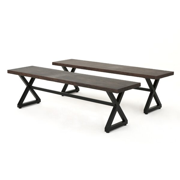 Lal Outdoor Aluminum Picnic Bench (Set of 2) by Union Rustic