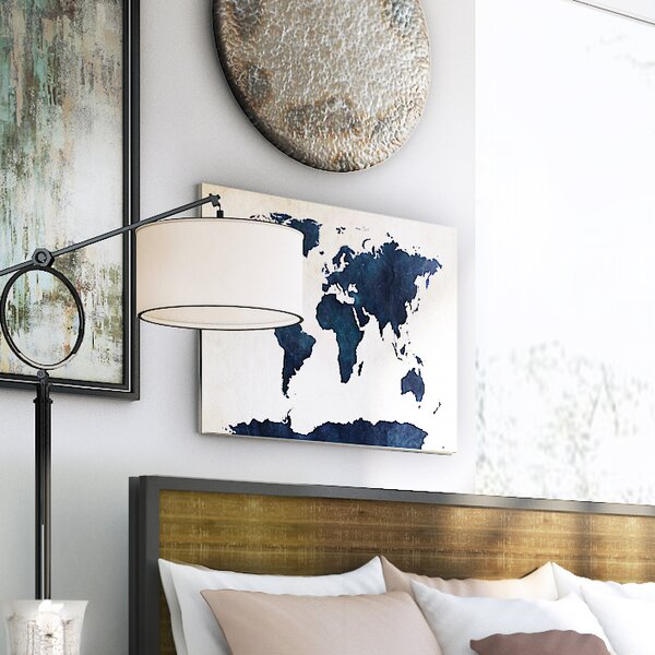 World Map - Navy Framed Graphic Art Print on Canvas by Trent Austin Design