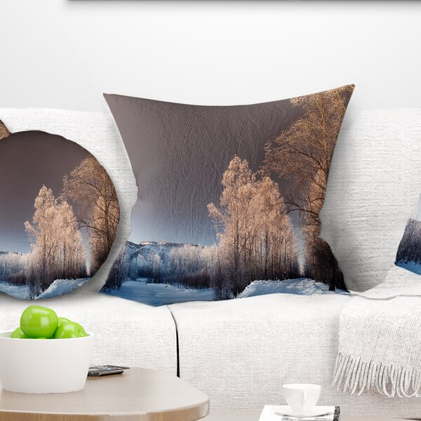Landscape Futuristic Winter Sky Pillow by East Urban Home