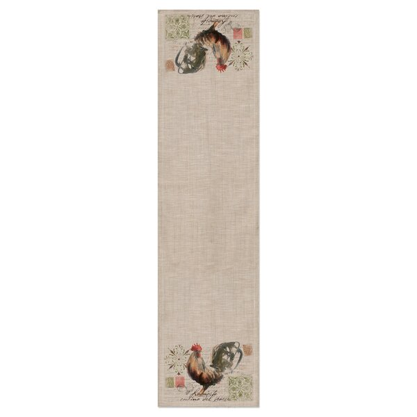 Odette Tan Rooster Run Table Runner by August Grove