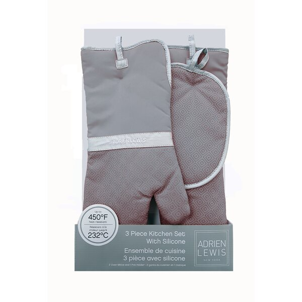 Oven Mitts and Pot Holder 3 Piece Set by Linen Depot Direct