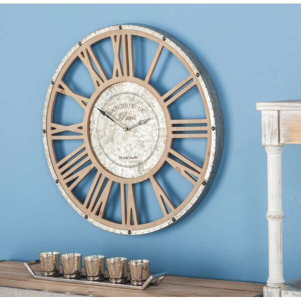 Metal/Wood Wall Clock by Cole & Grey