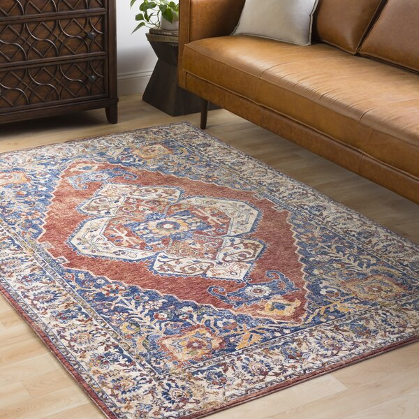 Jenessa Distressed Denim/Navy Area Rug by Darby Home Co
