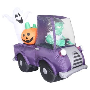 airblown lighted monster in car halloween decoration