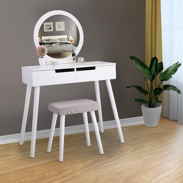 Ampezo Makeup Vanity Set with Stool and Mirror by Wrought Studio Wrought Studio