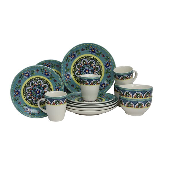 Santa Fe Springs Stoneware 16 Piece Dinnerware Set, Service for 4 by Elama