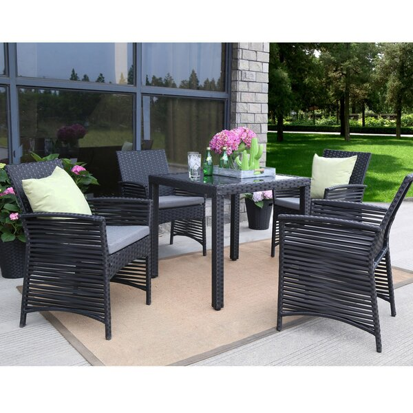 Ringgold Backyard 5 Piece Dining Set with Cushions by Ivy Bronx