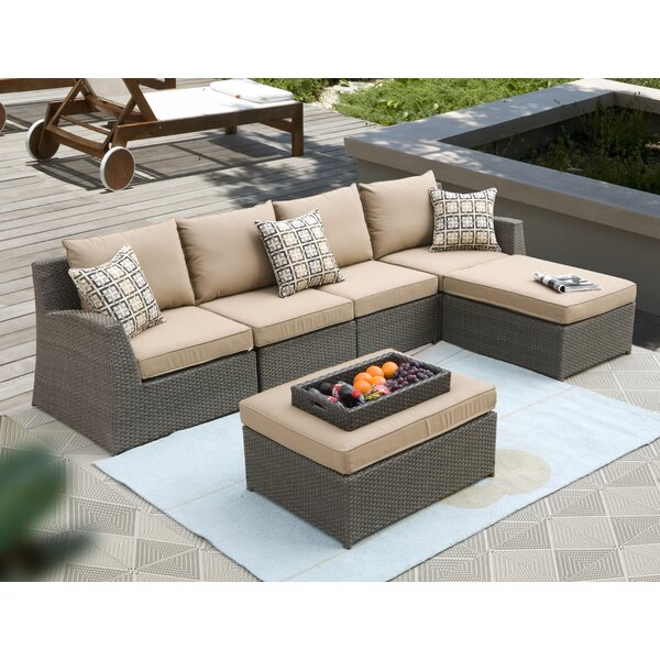 Vesperina 6 Piece Rattan Sectional Seating Group with Sunbrella Cushions by Latitude Run