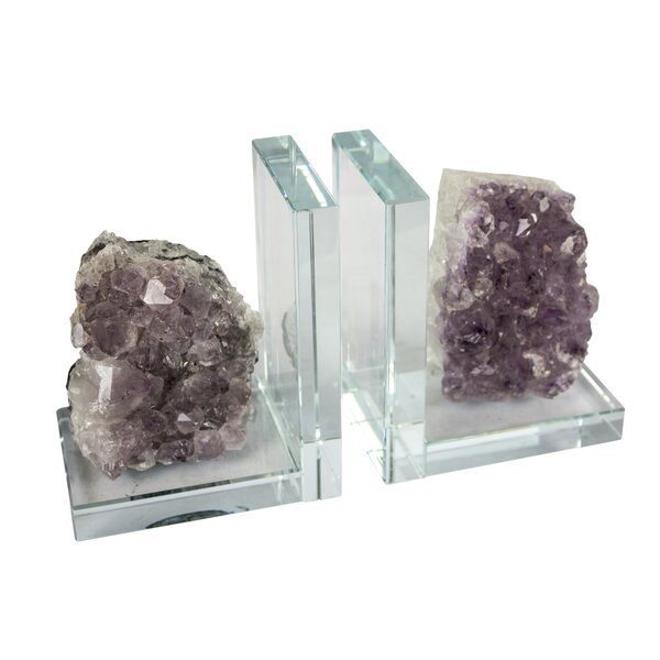 Glass and Amethyst Bookends by Everly Quinn