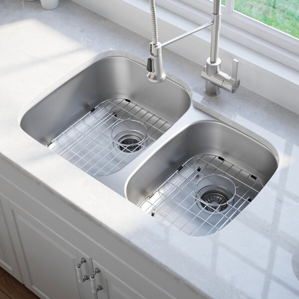 35 x 21 Double Basin Undermount Kitchen Sink with NoiseDefend™ Soundproofing by Kraus