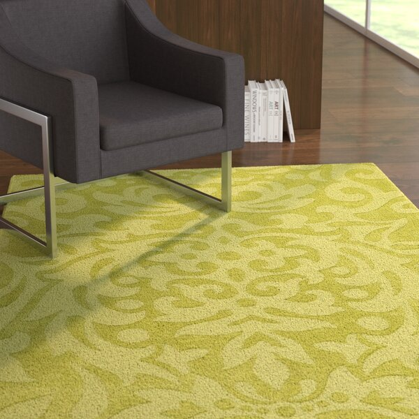 Dorthea Lime Green Floral Area Rug by Ebern Designs