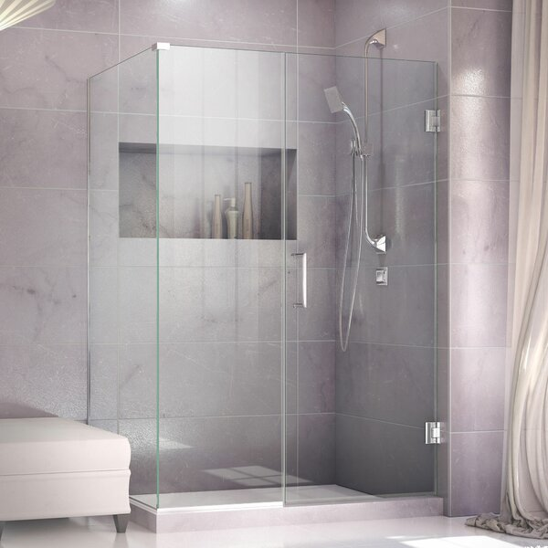 Unidoor Plus 56 x 72 Hinged Frameless Shower Door with Clear Max Technology by DreamLine