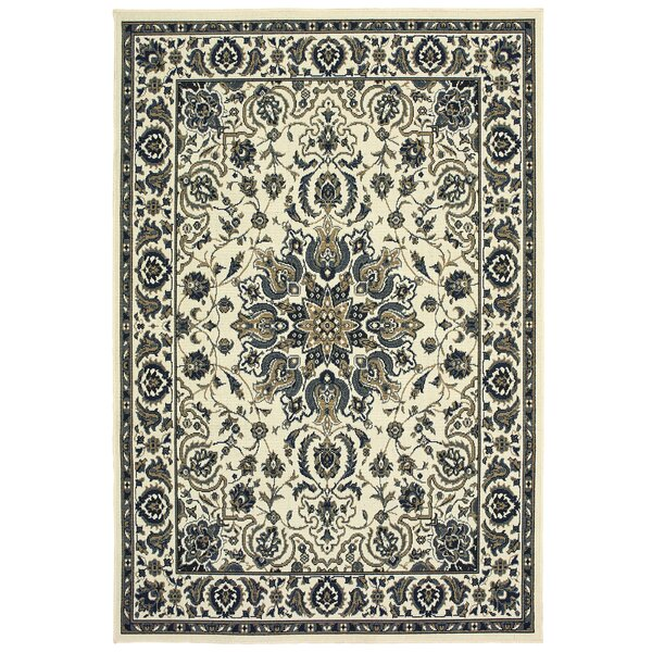 Salerno Traditional Medallion Ivory/Navy Indoor/Outdoor Area Rug by Charlton Home