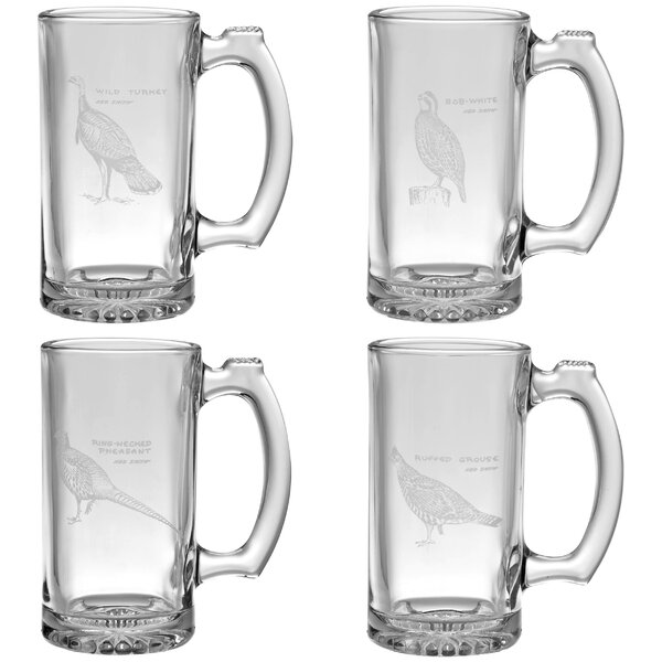 Upland Gamebirds 4 Piece 12 oz. Glass Pint Set by Ned Smith